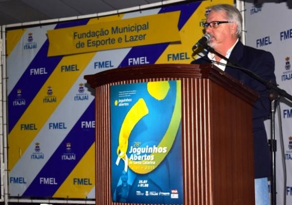 Presidente da Fesporte, Marcelo Kowalski, em discurso no lançamento da etapa estadual dos Joguinhos Abertos